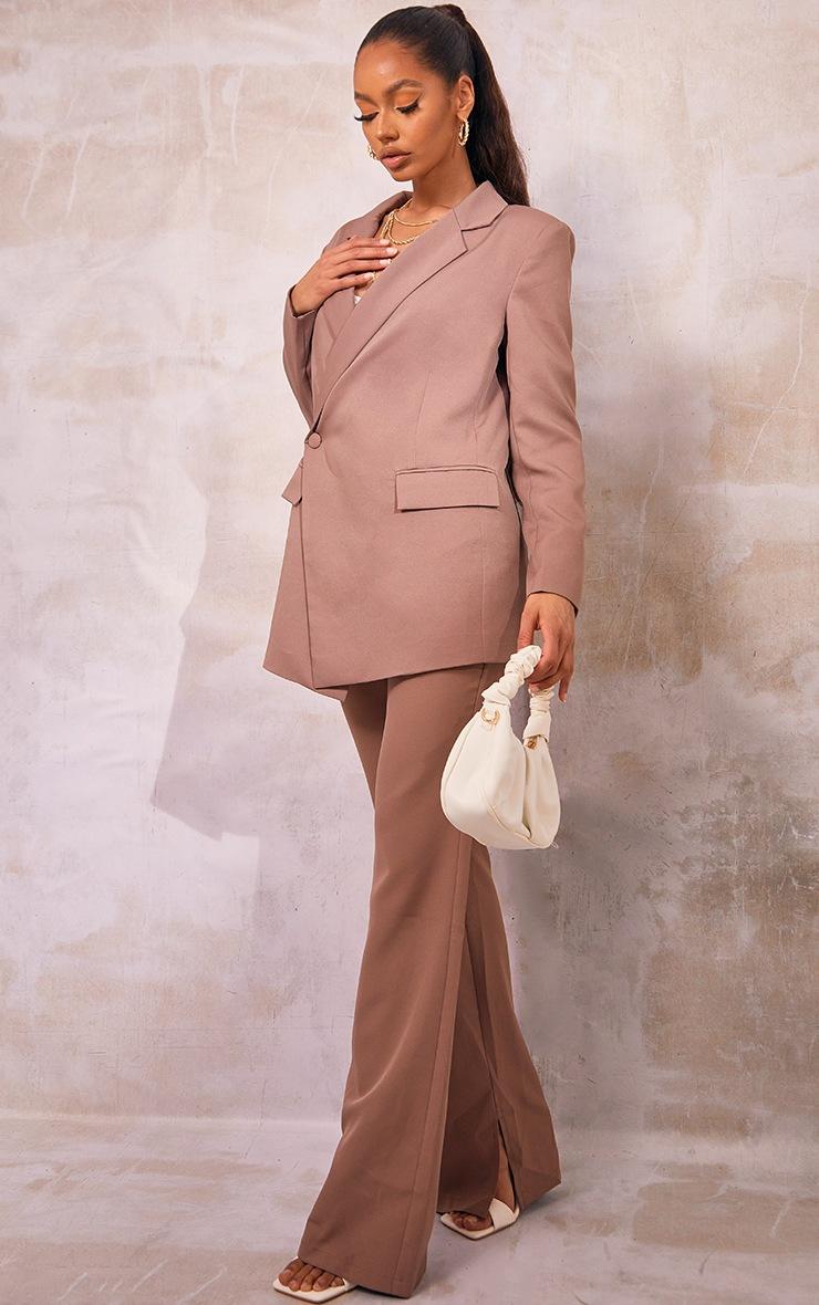 Mocha Oversized Asymmetric Button Detail Suit Blazer 3