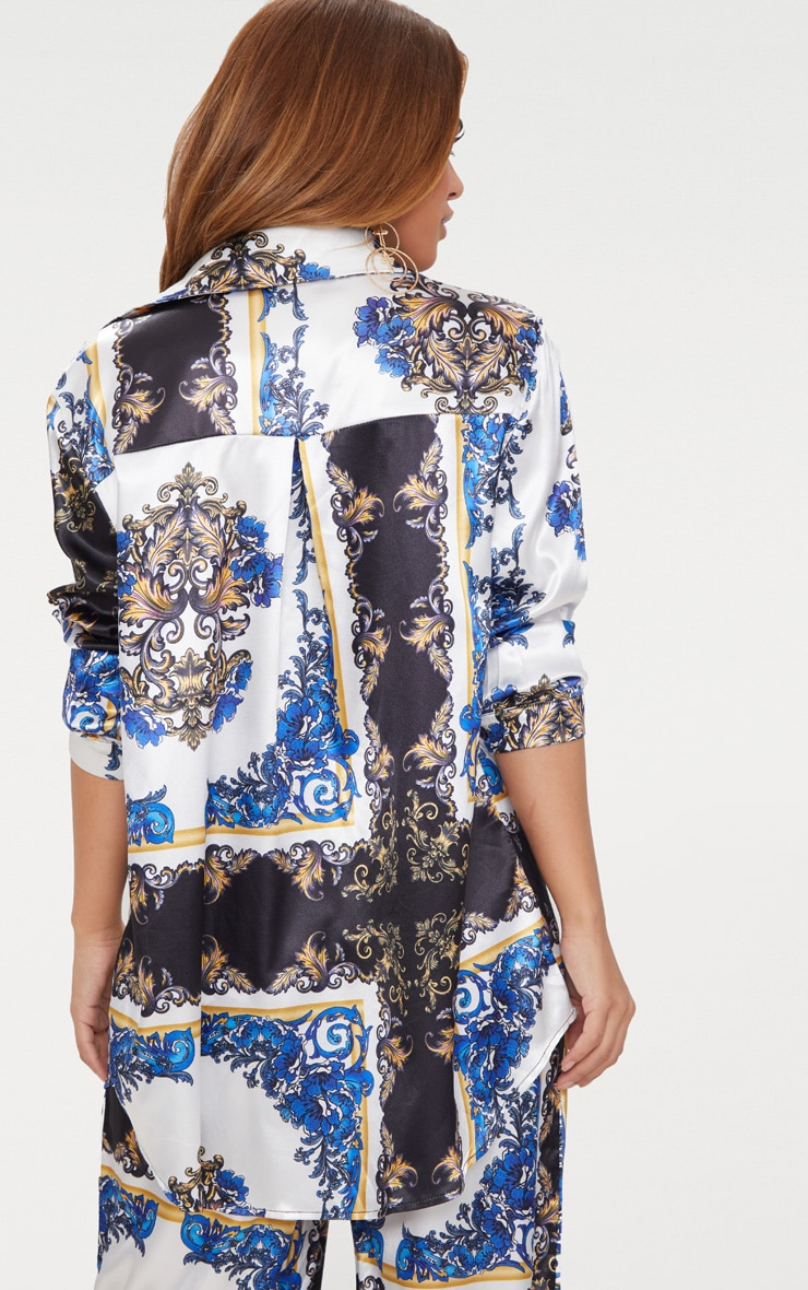 Petite Blue Satin Chain Print Shirt 2