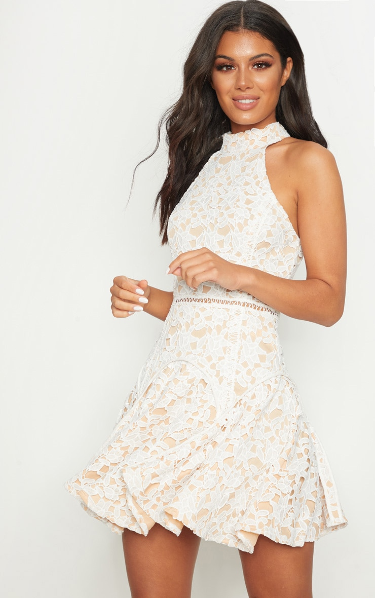 White Thick Lace High Neck Binding Detail Skater Dress 1