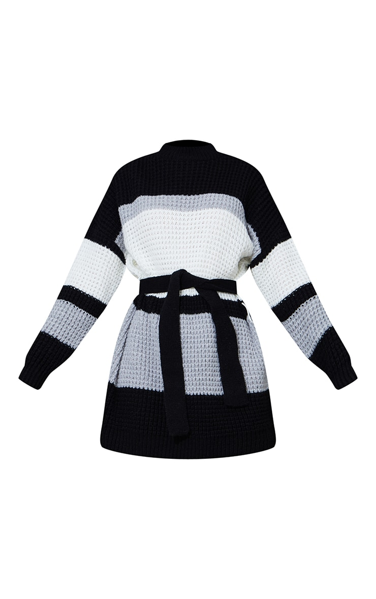 Monochrome Colour Block Waffle Knitted Jumper Dress 5