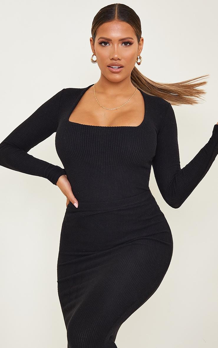 Shape Black Brushed Rib Long Sleeve Square Neck Bodysuit 1