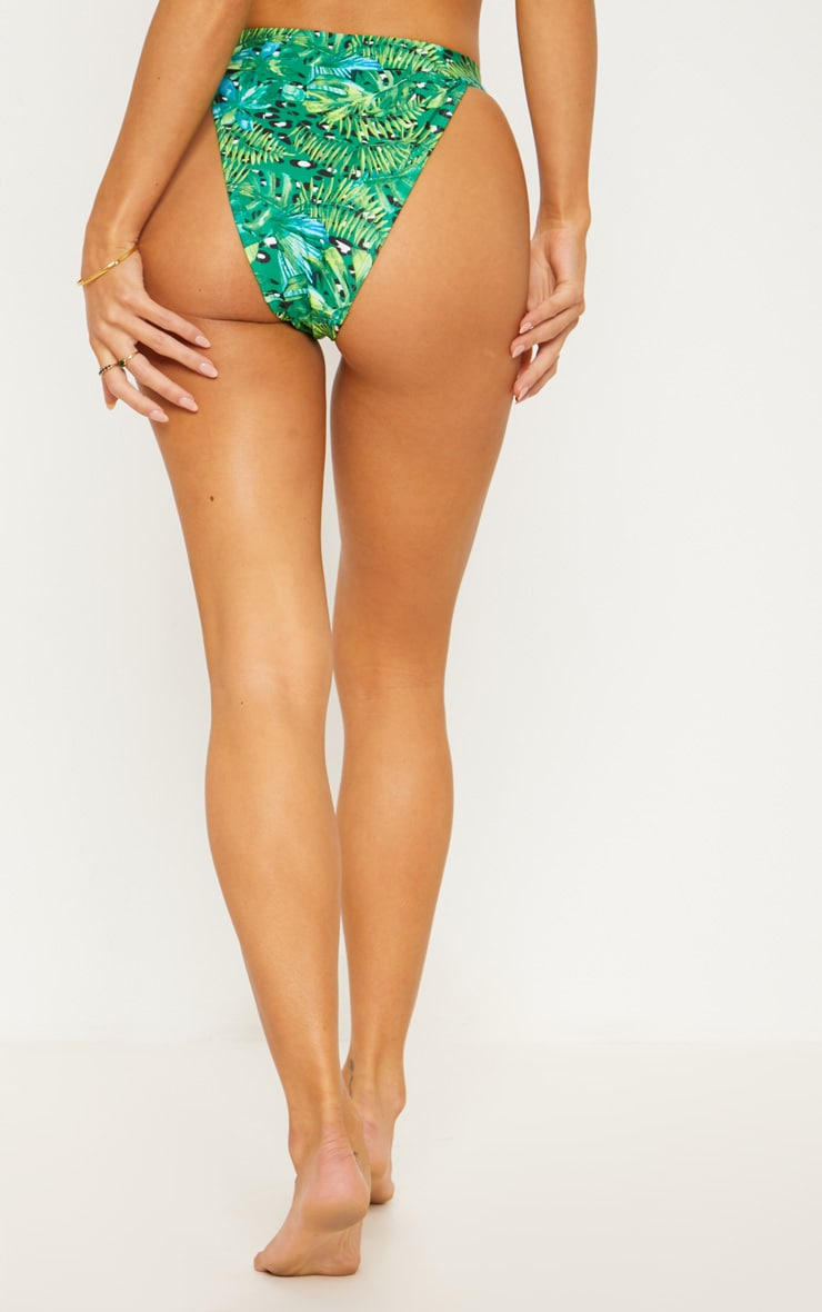 Green Jungle Print Lion Head High Rise Bikini Bottom 4