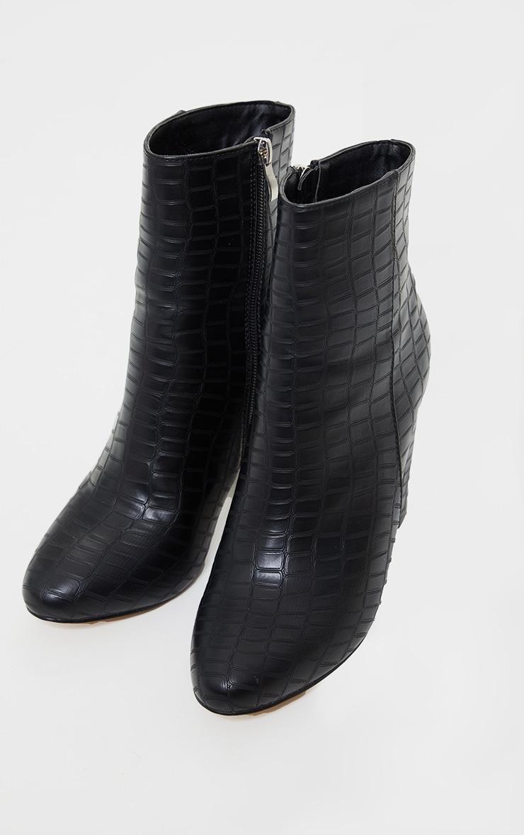 Black Faux Croc Ankle Boot 3