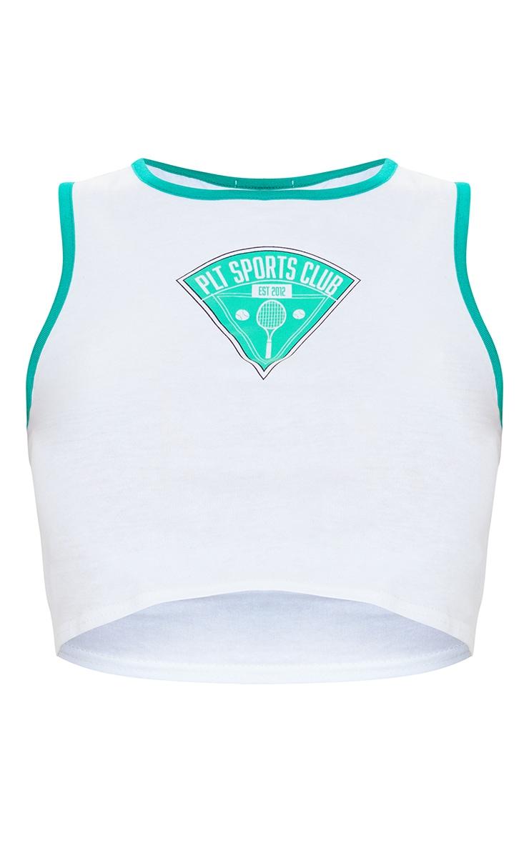 PRETTYLITTLETHING White Sports Club Print Crop Vest 5