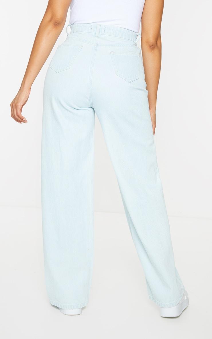 Light Blue Wash Seam Front Wide Leg Jeans 3