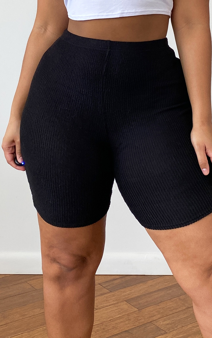Plus Black Brushed Rib Cycle Shorts 4