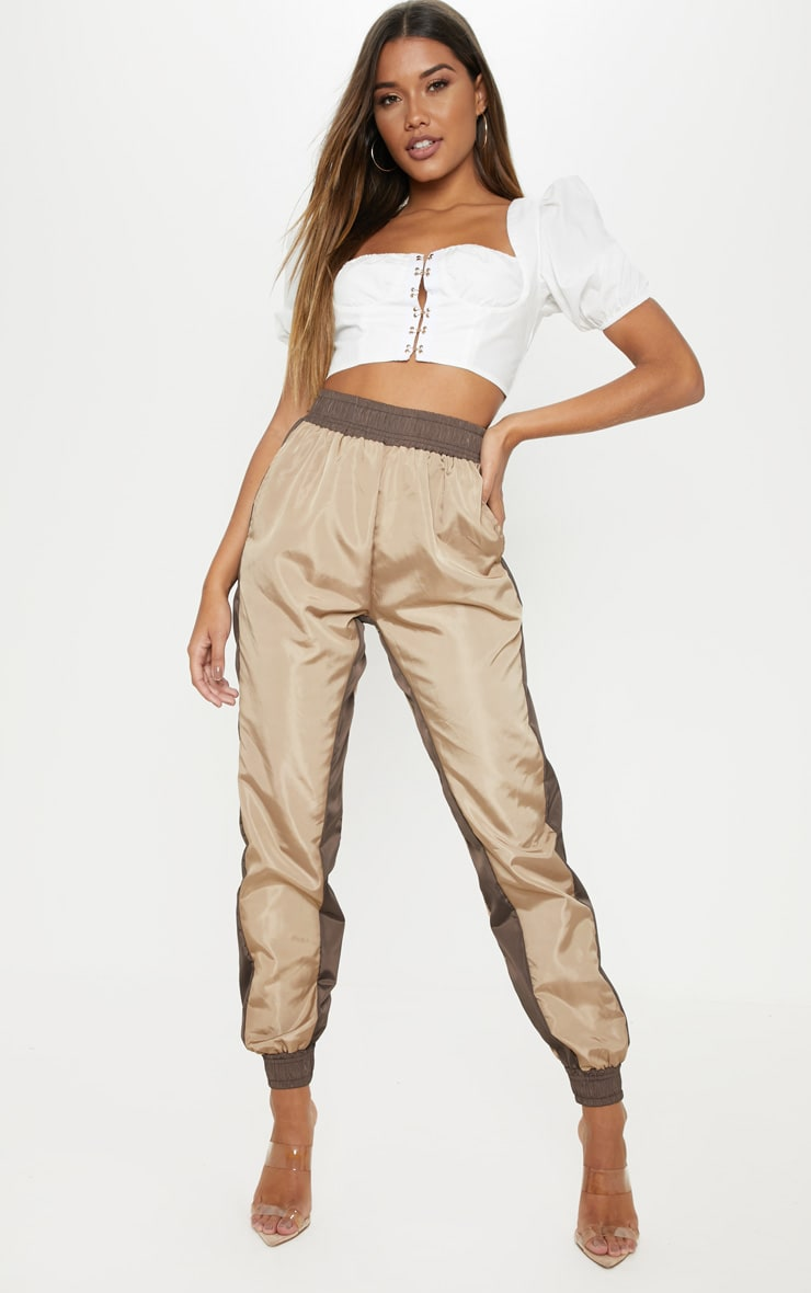 Taupe Contrast Panel Shell Jogger 1