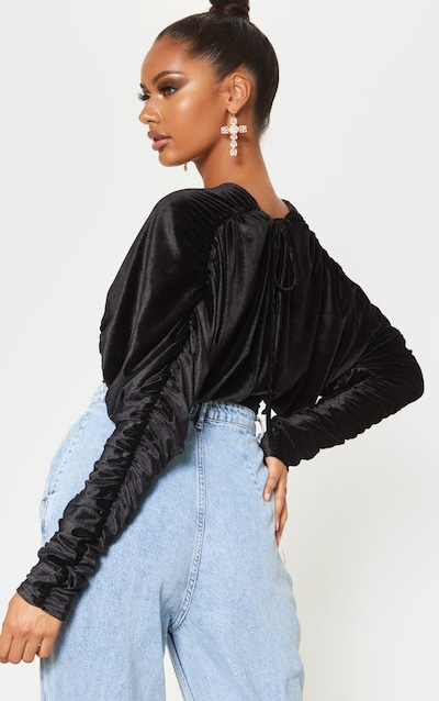 Black Velvet Ruched Sleeve Deep Plunge Crop Top