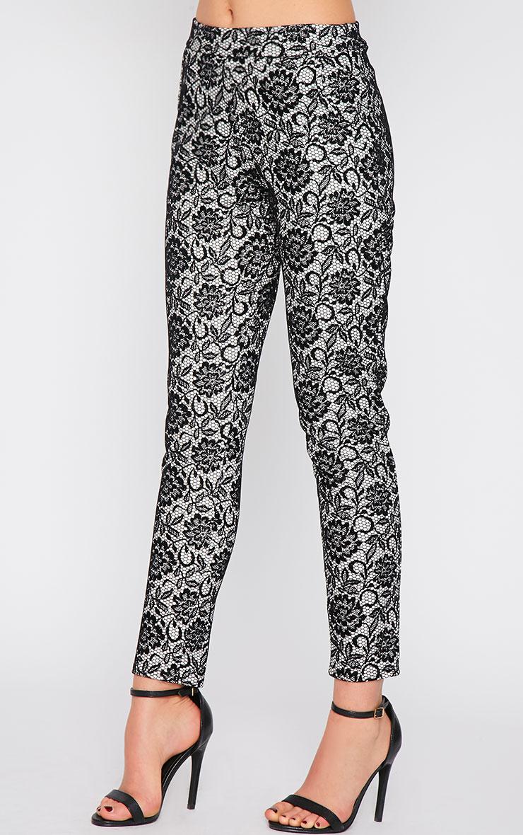 Makya Monochrome Velvet Flocked Print Trouser 3