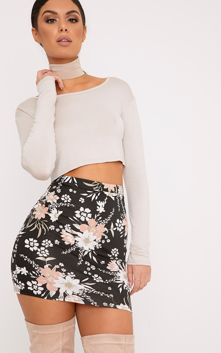 Donya Black Floral Print Mini Skirt 1