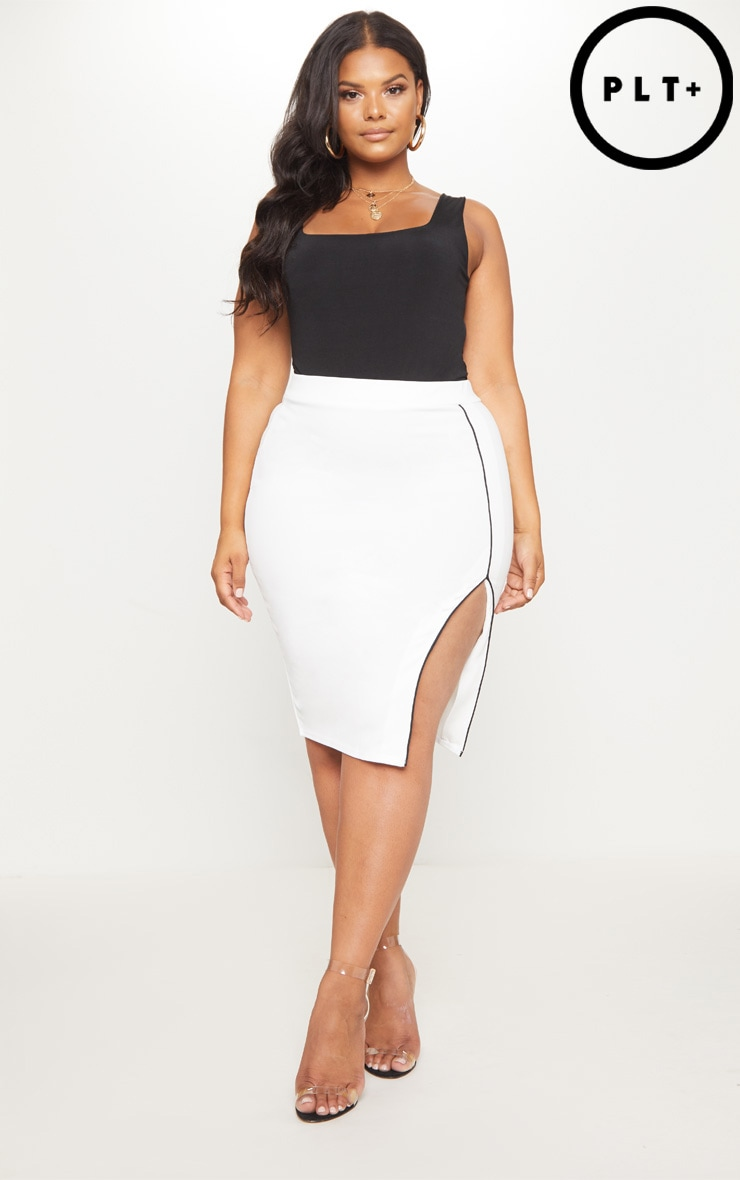 Plus White Contrast Detail Side Spit Midi Skirt 1