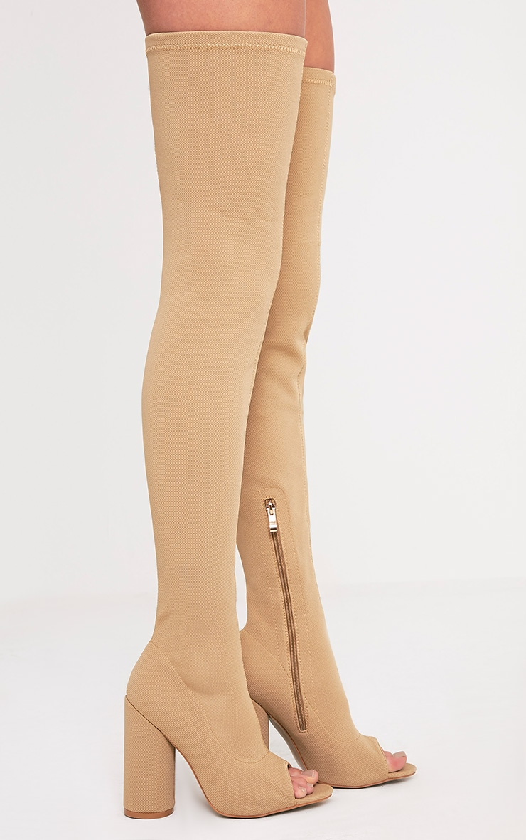 Beccy Stone Knitted Peep Toe Thigh Boots 3