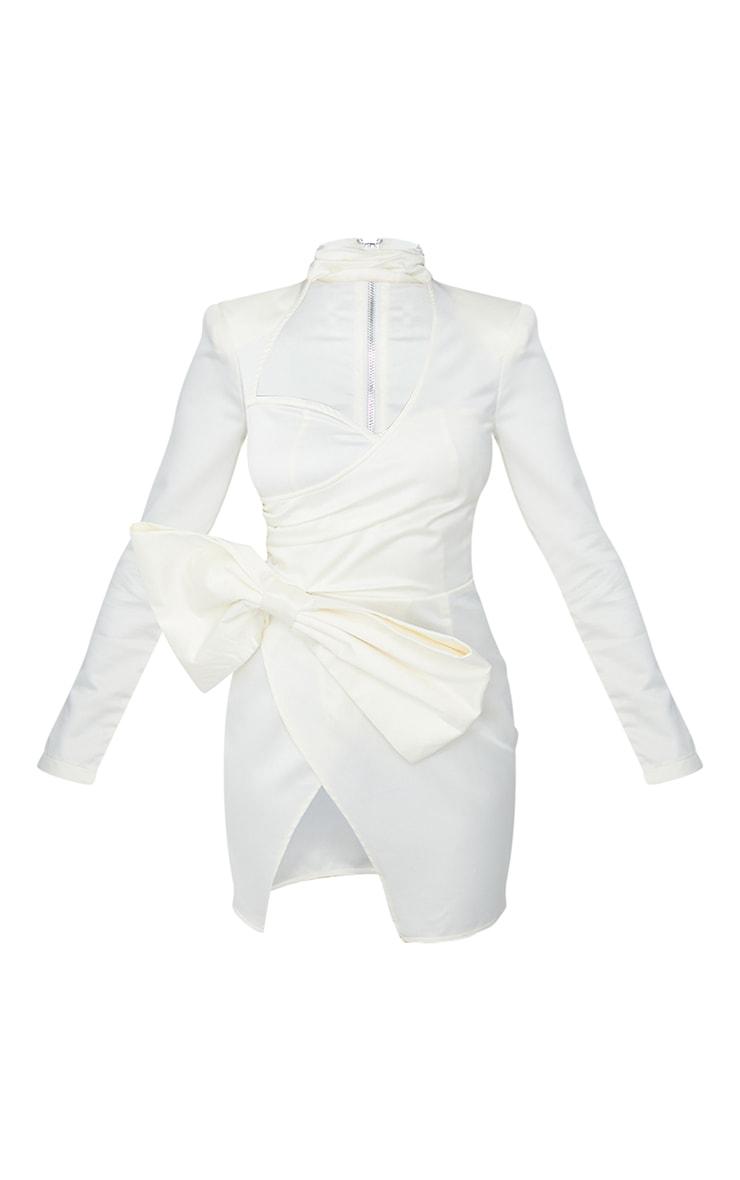 White Cut Out Bow Detail High Neck Bodycon Dress 6