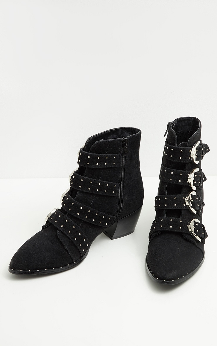 Black Pinstud Buckle Western Ankle Boot 4