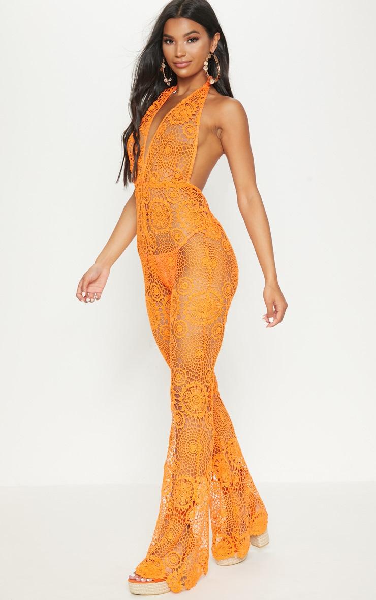 Orange Crochet Lace Halterneck Jumpsuit 2