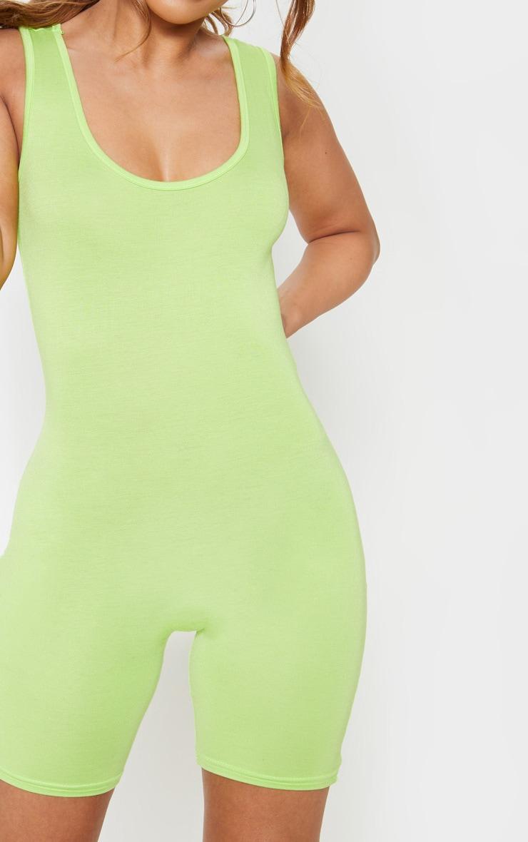 Petite - Combishort moulant basique vert citron 5