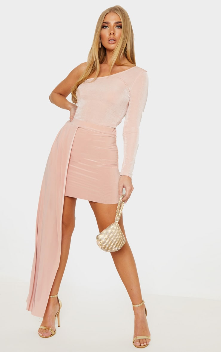 Dusty Pink Slinky Drape Detail Mini Skirt  1