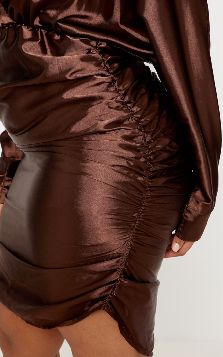 Chocolate Brown Ruched Side Midi Dress  6
