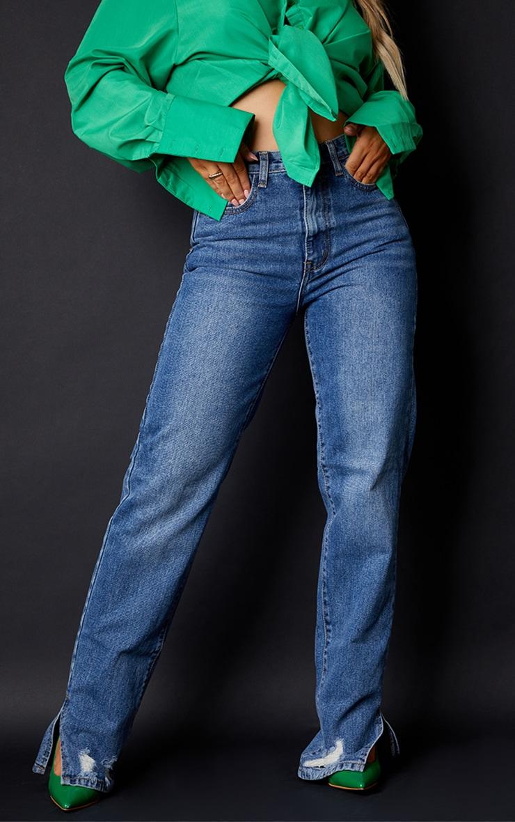 Mid Blue Wash Ripped Split Hem Straight Leg Jeans 2