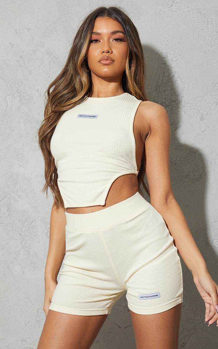 PRETTYLITTLETHING Cream Rib Badge Tie Back Detail Sleeveless Top 2