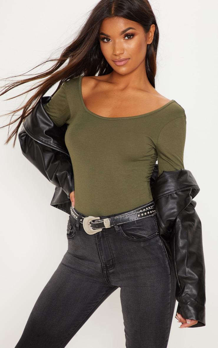 Basic Khaki Scoop Back Longsleeve Bodysuit 1