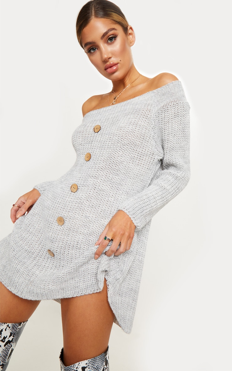 Grey Knit Bardot Button Detail Sweater Dress 5
