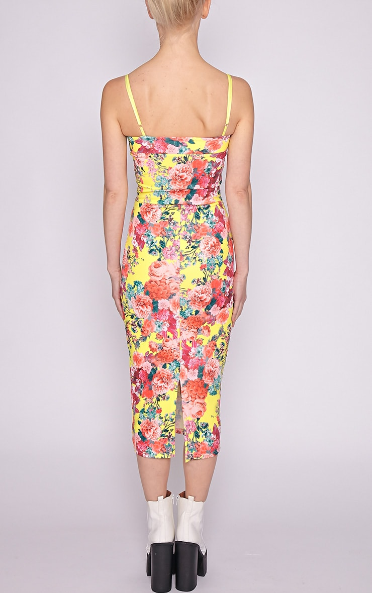 Selena Yellow Floral Midi Dress 2