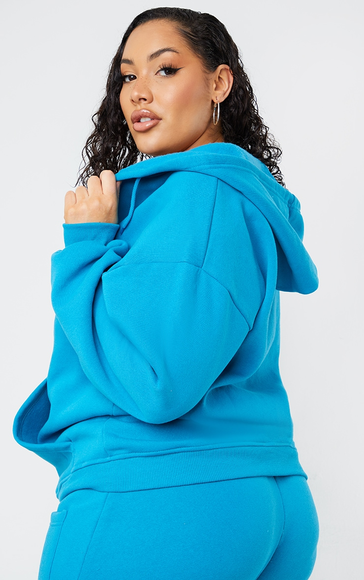 Plus Blue Extreme Oversized Pocket Front Zip Through Hoodie 2