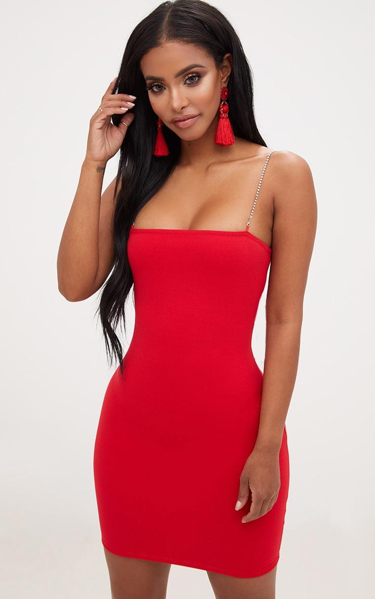 Shape Red Diamante Strap Bodycon Dress 1