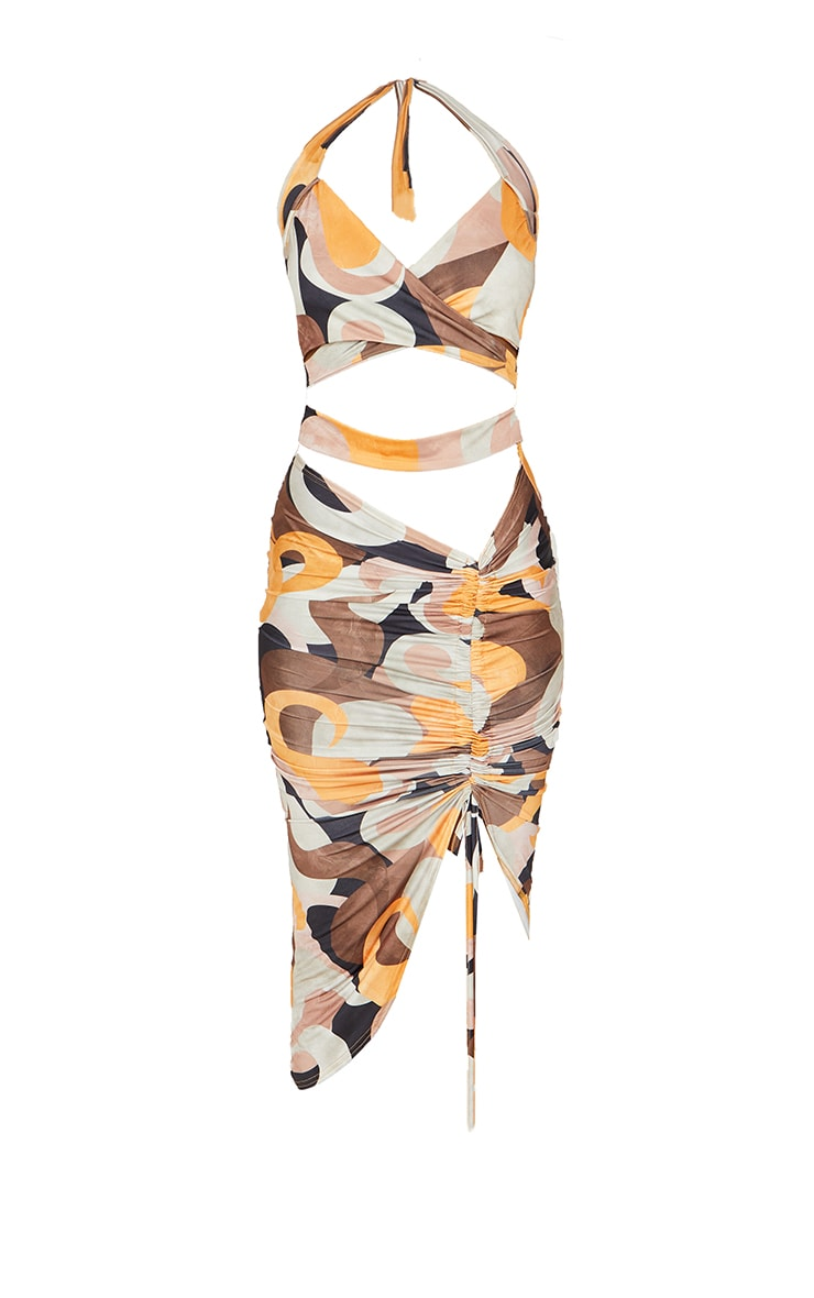 Multi Abstract Print Slinky Halterneck Cut Out Ruched Skirt Midi Dress 5