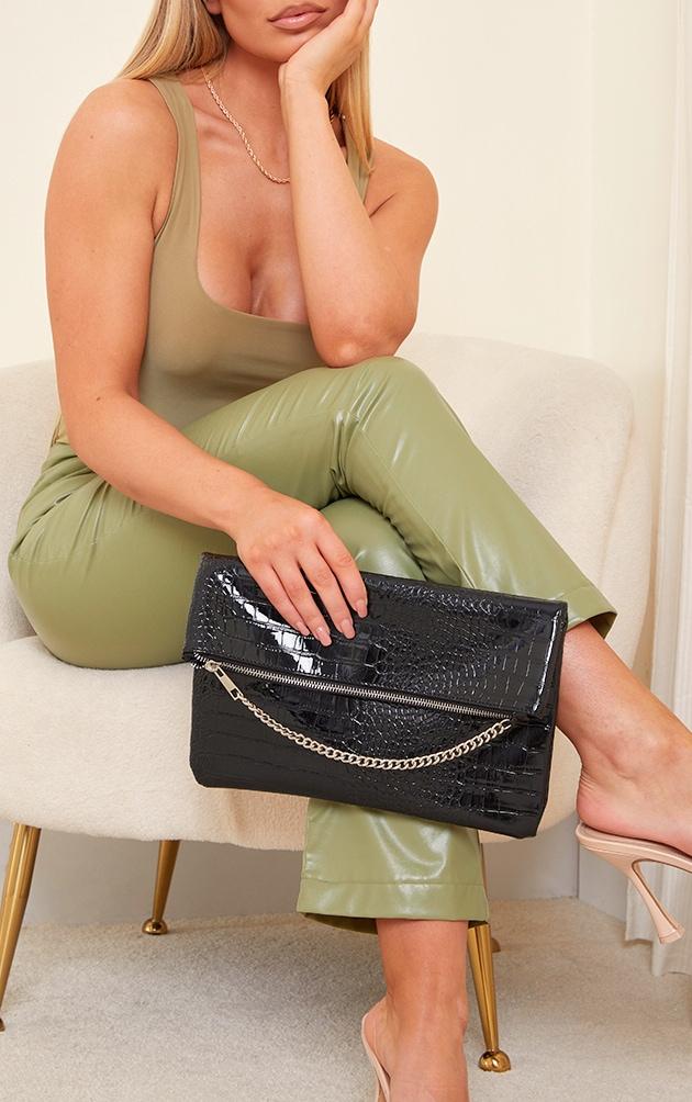 Black PU Snake Oversized Foldover Clutch Bag 1