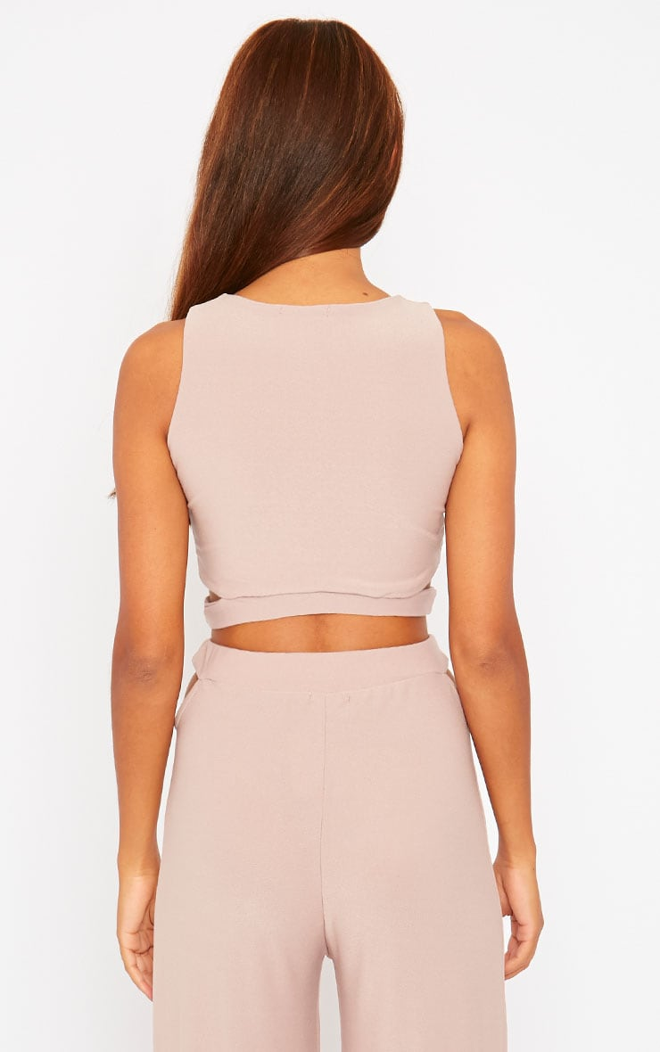 Elphina Dusty Pink Crepe Cut Out Crop Top 4