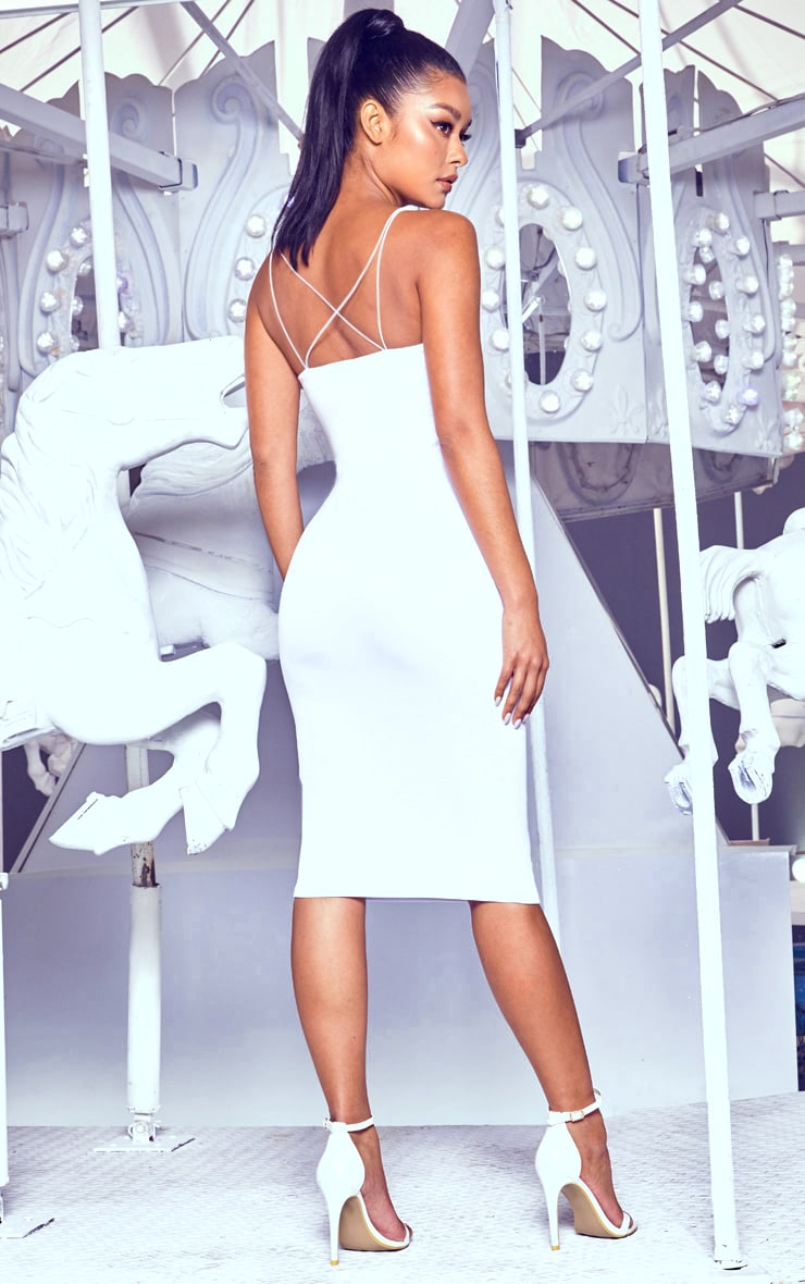White Plunge Double Strap Midi Dress 2
