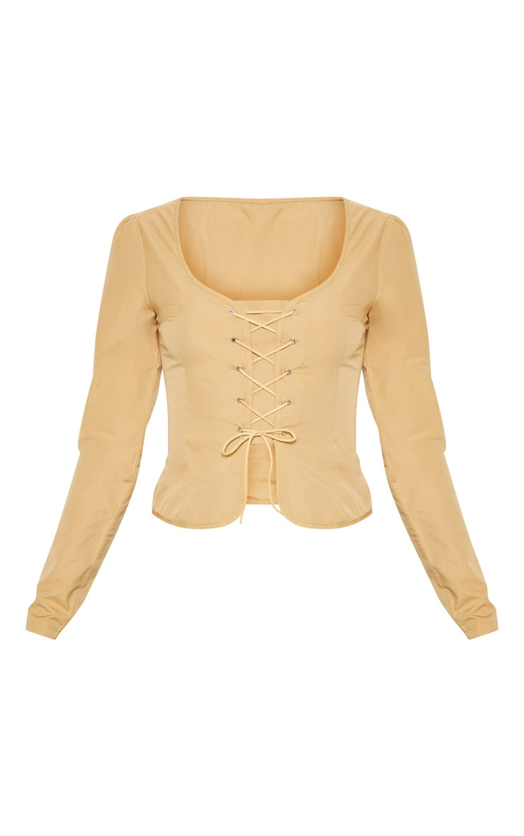 Stone Woven Lace Up Front Long Sleeve Blouse 3