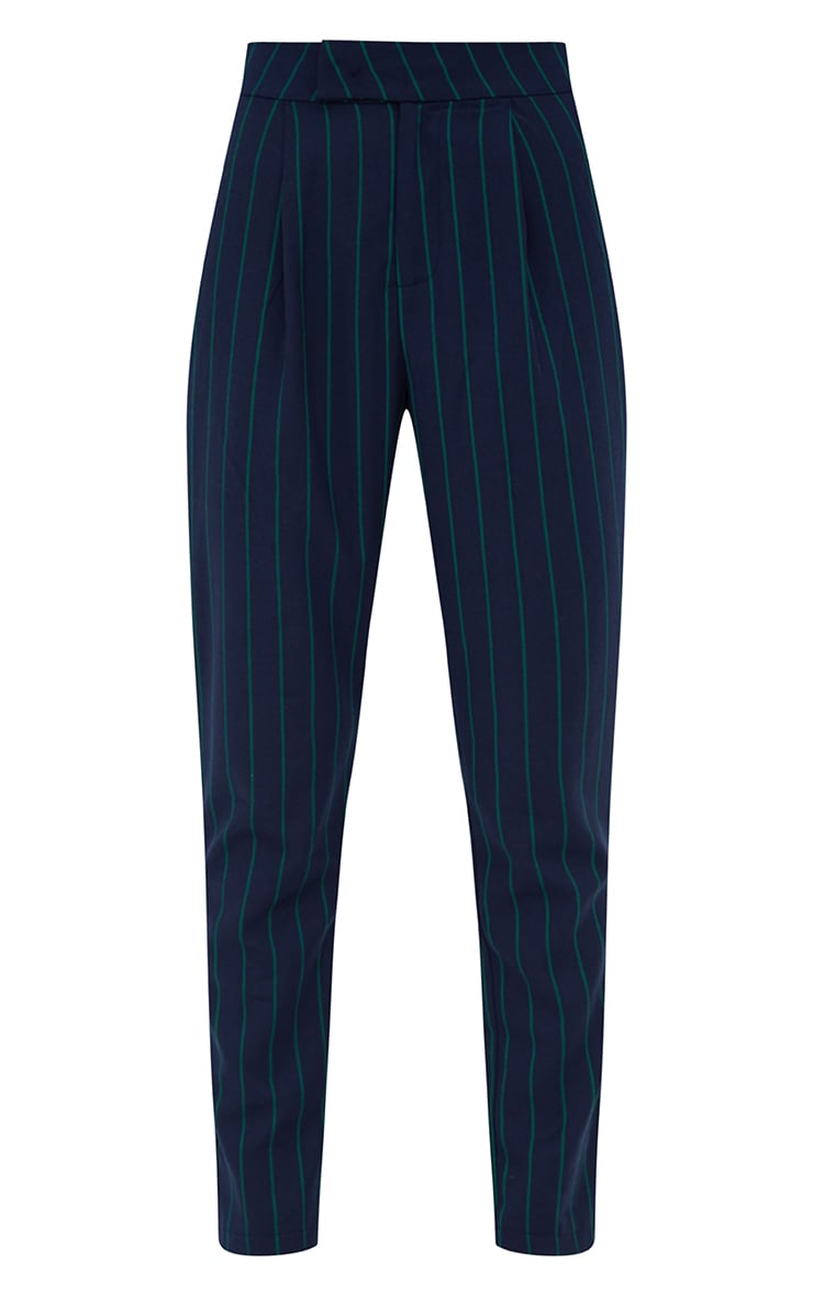Navy Pinstripe Tailored Trousers 3