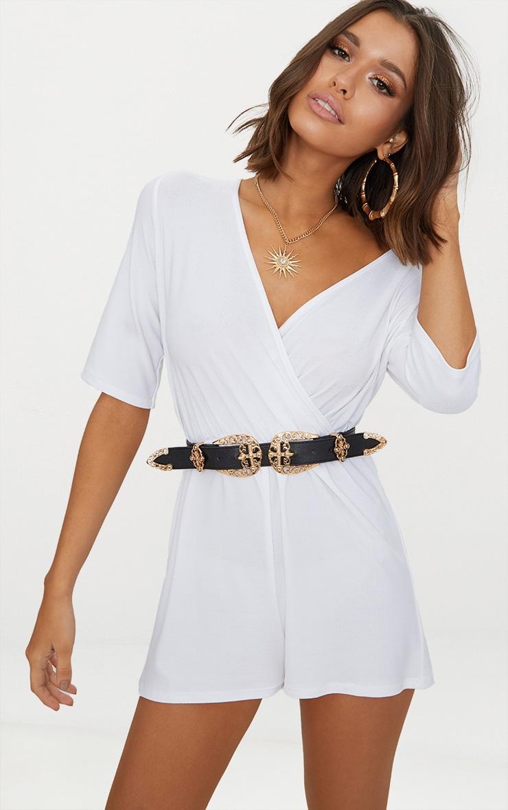 White Crepe Short Sleeve Wrap Playsuit 1