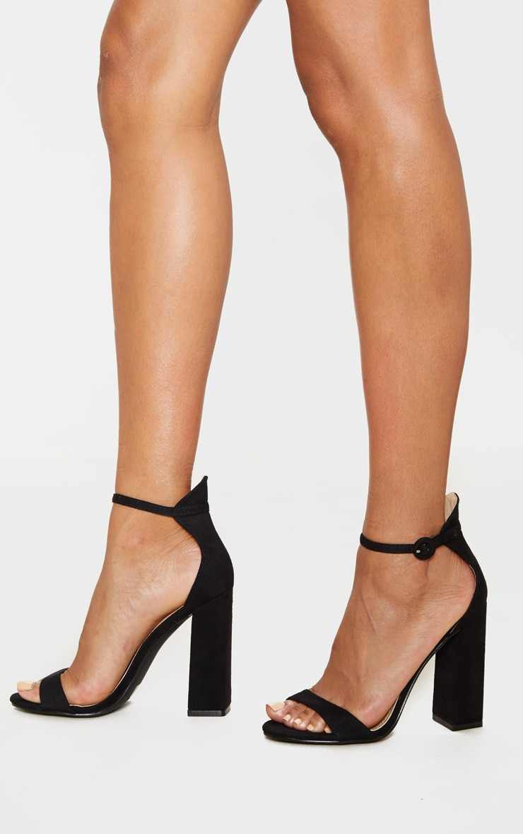 Black Faux Suede Block High Heeled Sandals 2