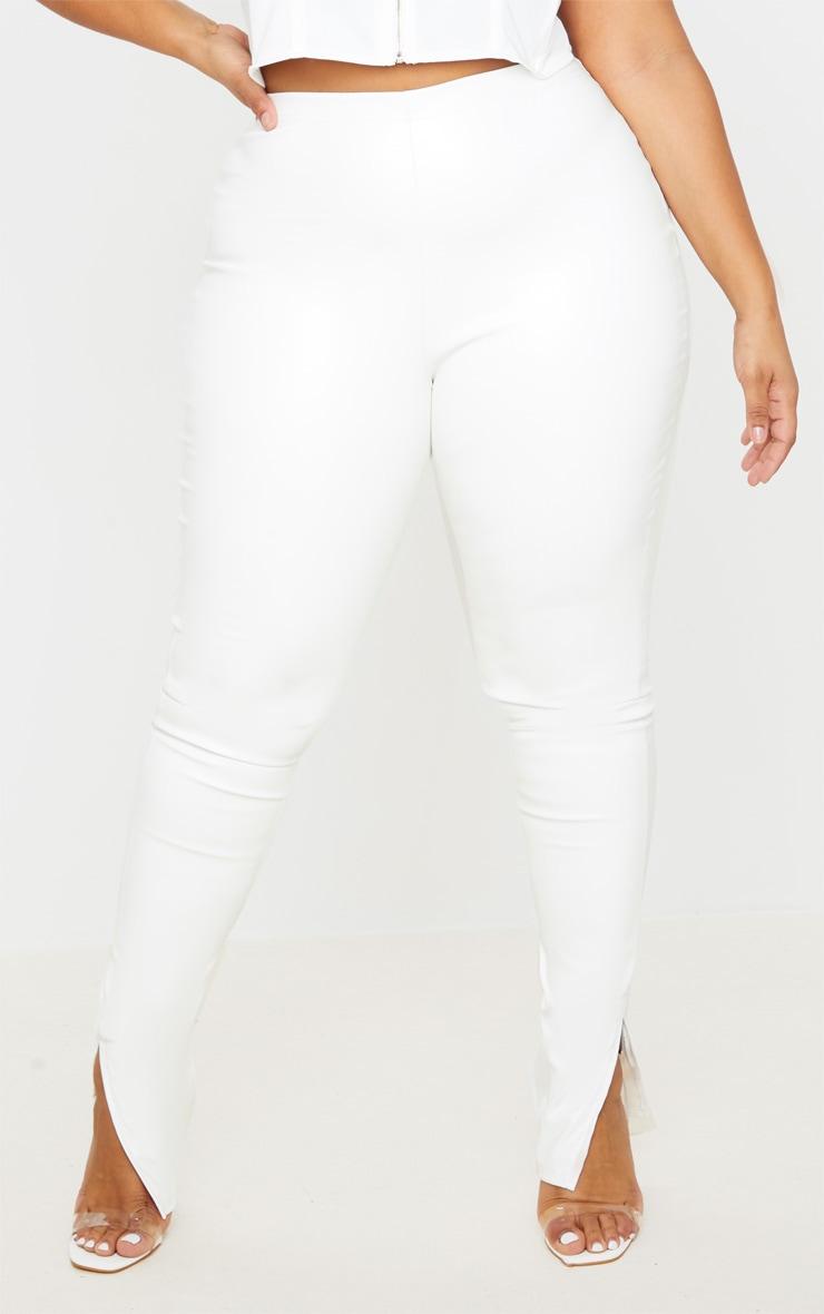 Plus Cream PU Split Hem Skinny Trousers 2