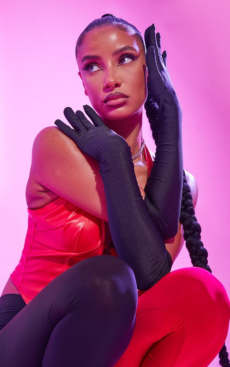 Black Plain Satin Long Gloves 1