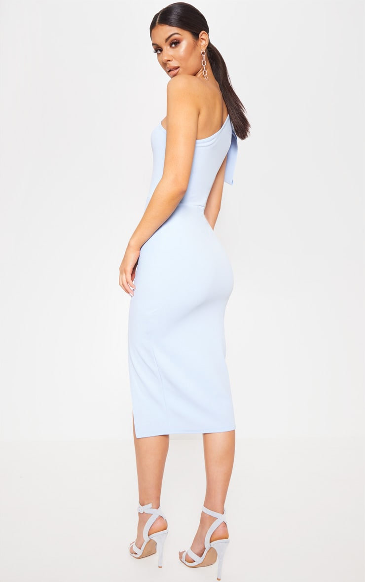 Baby Blue One Shoulder Bow Detail Midi Dress 2