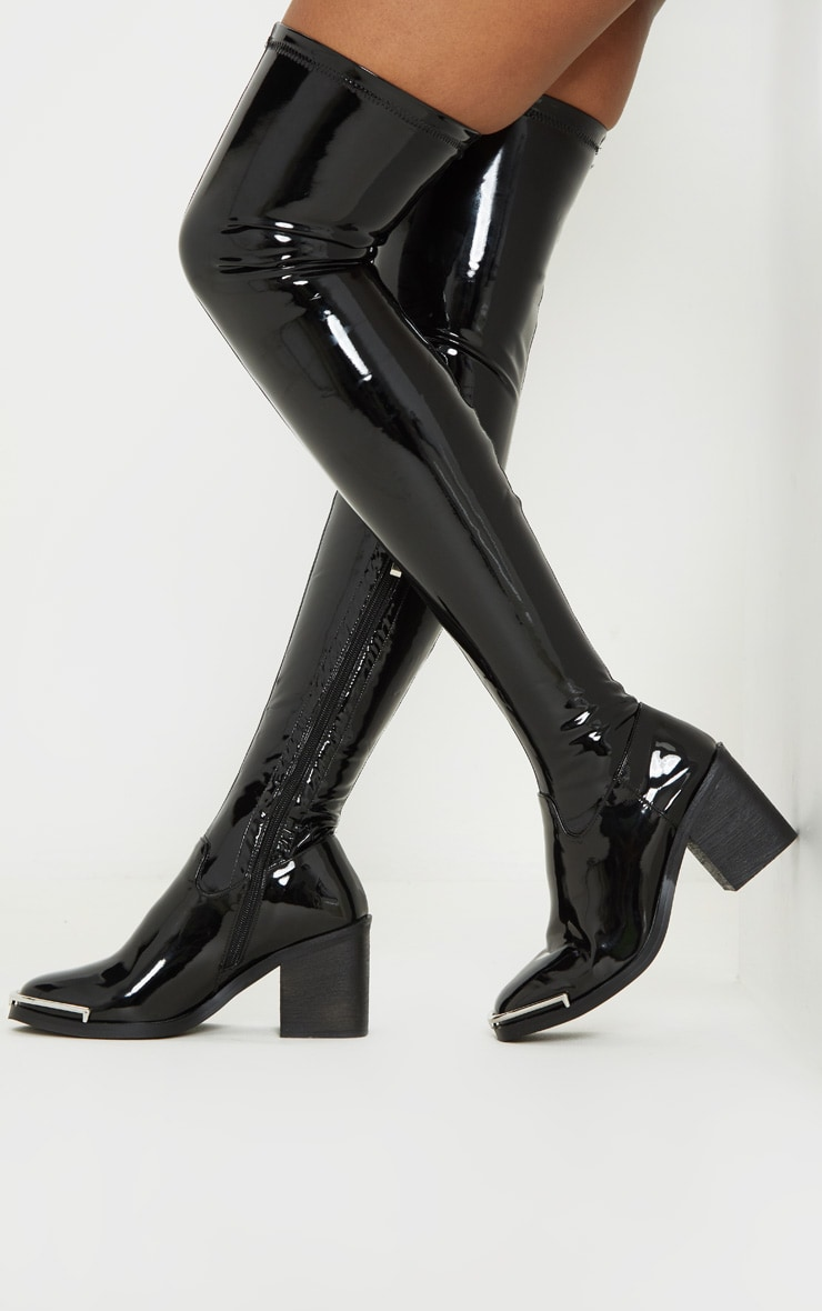 Black Thigh High Metal Detail Sock Boot 1