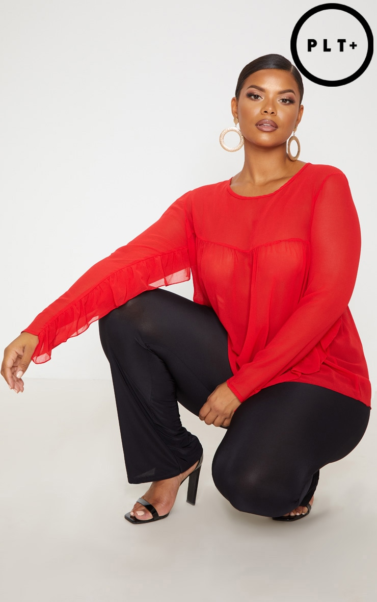 Plus Red Sheer Frill Sleeve Top