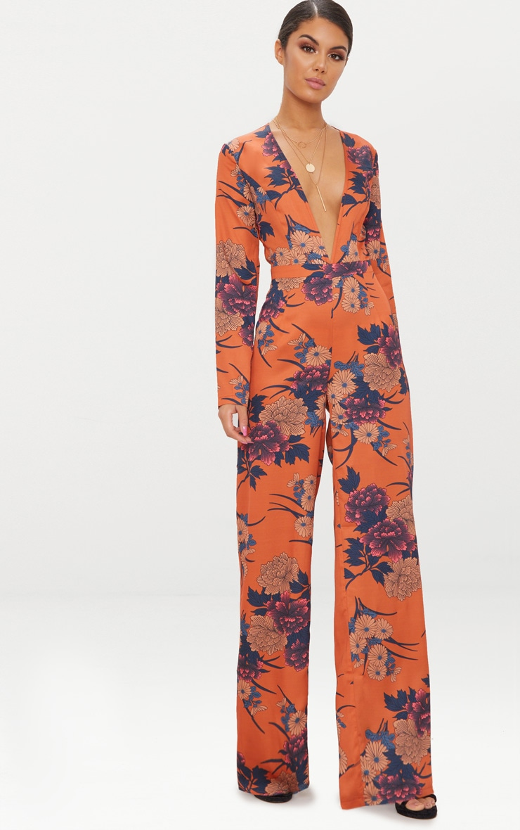 Orange Floral Print Long Sleeve Plunge Jumpsuit 1
