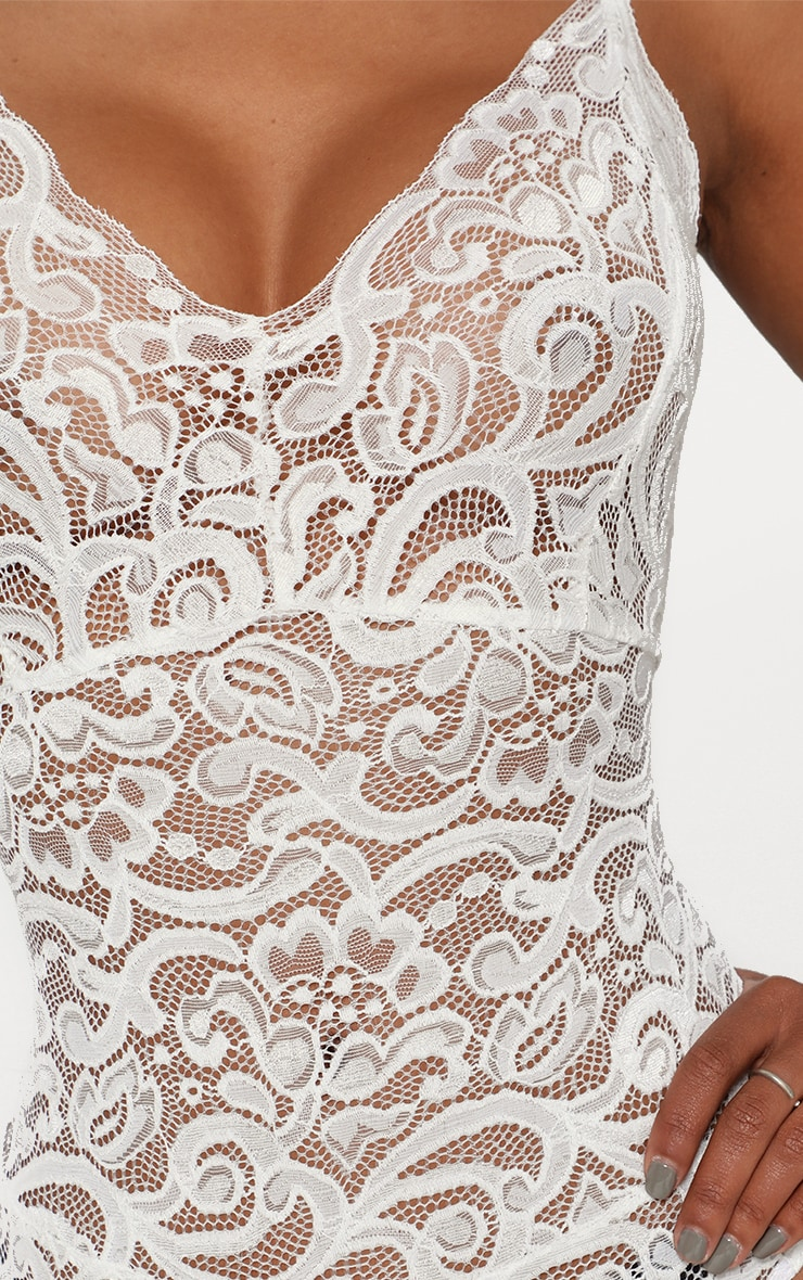Shape White Sheer Lace Bodysuit 6