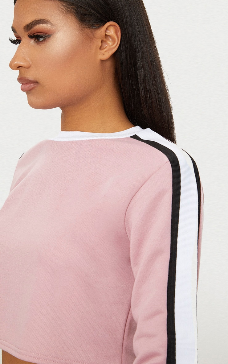 Rose Triple Shoulder Stripe Crop Sweater  5