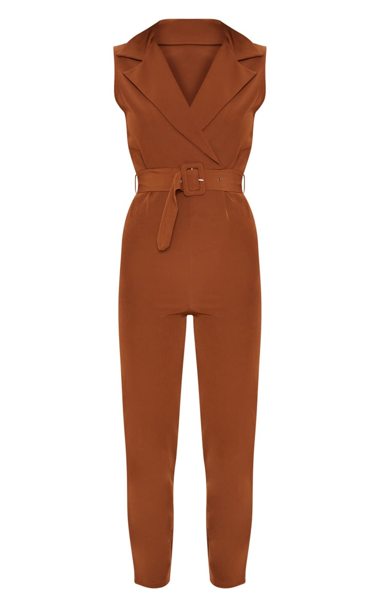 Brown Woven Collar Buckle Front Jumpsuit 3