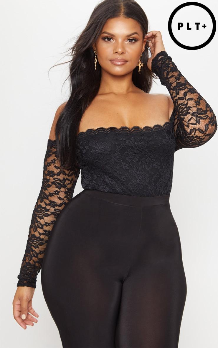 Plus Black Lace Bardot Bodysuit 1