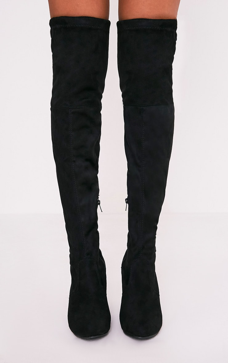 Bess Black Faux Suede Heel Thigh Boots 3