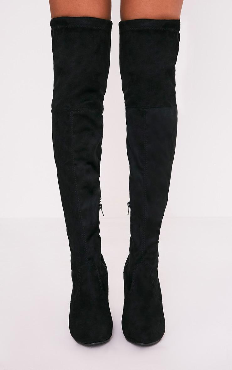 Bess bottes cuissardes noires imitation daim à talons 3