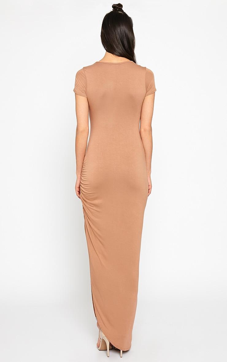 Basic Camel Ruched Cap Sleeve Maxi Dress 2